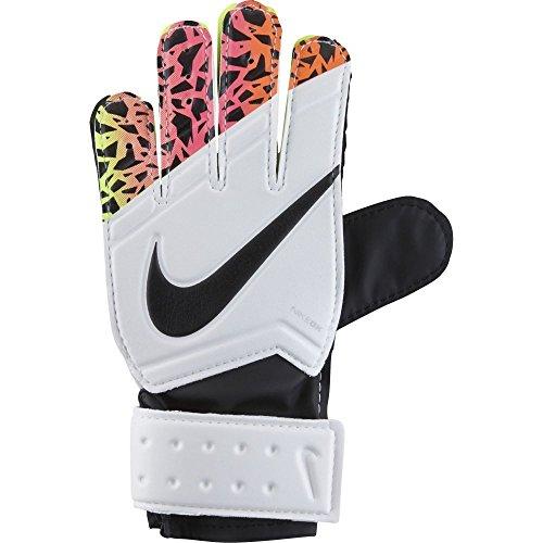 Nike Jr. Match Goalkeeper Soccer Goalkeeper Gloves (Black, White, Volt, Total Crimson) Sz. 5 ()