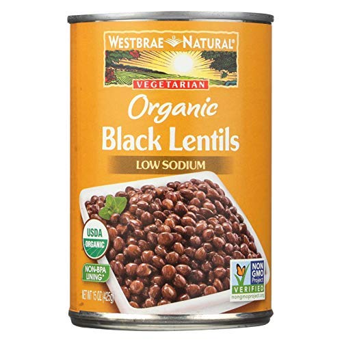 Westbrae Natural Organic Black Lentils, 15 Ounce Cans (Pack of 12) (Best Canned Beans To Eat)