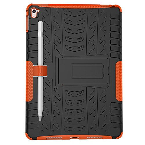 Apple 9.7 inch iPadPro Protector Case with Pen Holder, Heavy Duty Anti Slip Hybrid Protective Back Cover and Shockproof Bumper with Kickstand by Boonix (Orange)