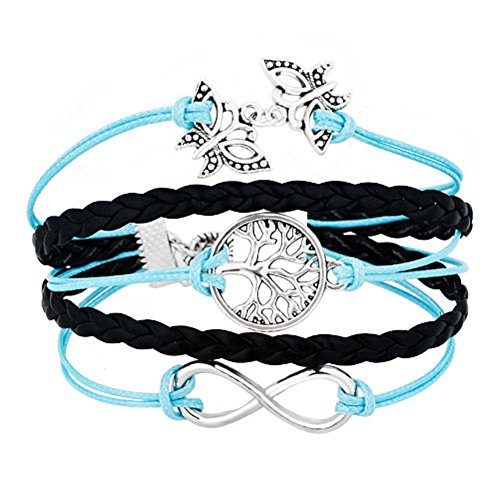 ReisJewelry Sideways Infinity Butterfly Family Tree Of Life Charms Wrap Leather Bracelet For Women (Blue) (Bracelet Blue Tiffany)