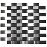 Bridge Pattern Silver And Black Stainless Steel Mosaic Tile - Kitchen Backsplash/Bathroom Wall/Home Decor/Fireplace Surround