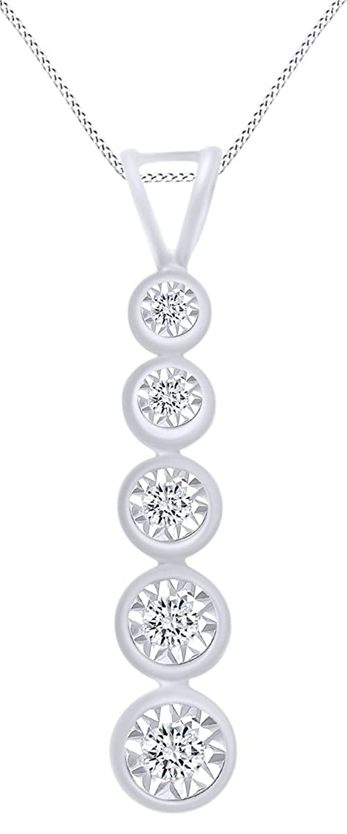 0.15 cttw AFFY 14k Gold Over Sterling Silver Round Cut White Cubic Zirconia Journey Pendant Necklace