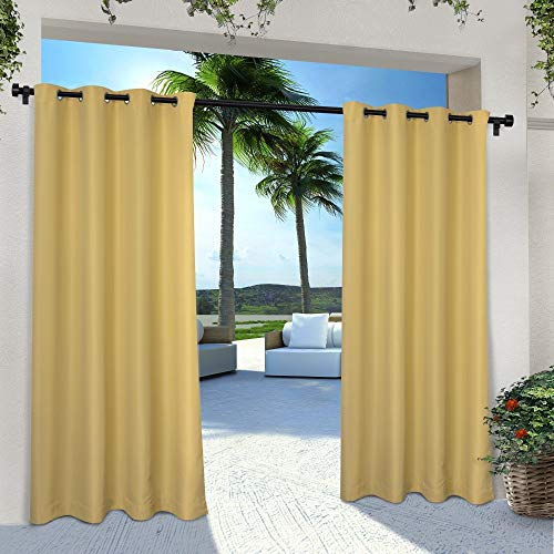 Exclusive Home Curtains Indoor/Outdoor Solid Cabana Window Curtain Panel Pair with Grommet Top, 54x84, Sundress Yellow, 2 Piece