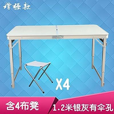 Xing Lin Table Pliable Table De Pique-Nique Barbecue Piscine Ultra Léger En Aluminium Table Pliante Tabouret Chaise Portable Ensemble, L'Amélioration De 1,2 M Gris Argent Trou Parapluie 4 Tabouret Tissu