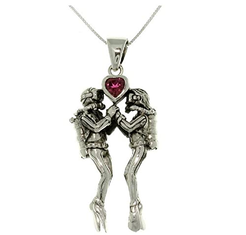 Jewelry Trends Sterling Silver Sea Life Scuba Divers Garnet Heart Pendant with 18 Inch Box Chain Necklace