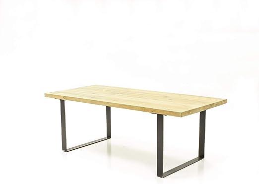 Mesa de Comedor de 160 cm, Roble Macizo y Metal, diseño Industrial ...
