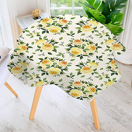 - UHOO2018 Polyester Dust-Prooftablecloth-Collection Roses Hybrid Summer Park European Old Fashioned Antique Design Green Yellow Beige for Kitchen Dinning 71
