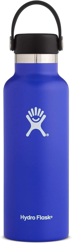 Hydro Flask 二層式真空断熱ステンレススチール製ウォーターボトル 漏れにくい スポーツドリンク用 標準サイズの口 ビスフェノール-A不使用 フリーフレックスキャップ付き 18 oz (532 ml) Standard Mouth ブルー