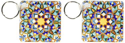 (3dRose Morocco, Hassan II Mosque mosaic, Islamic tile detail-AF29 KWI0018 - Kymri Wilt - Key Chains, 2.25 x 4.5 inches, set of 2 (kc_73580_1))