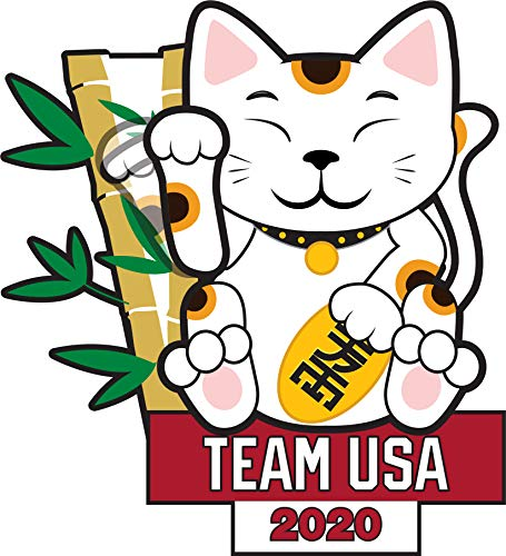 2020 Summer Olympics Tokyo Japan Team USA Lucky Cat Lapel Pin (Moving ()