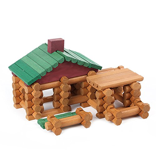 Wondertoys 90 Piece Classic Wood Cabin Logs Set Building Toy For (Kids Log)