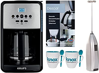 Krups 12 Cup Savoy Coffee Maker + Descaling Powder + Knox Milk Frother + Mugs