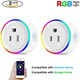 LED Wifi Mini Smart Switch Outlet 2 Pack Smart Home Plug With RGB Night Light,Compatible with Amazon Alexa, Google Home, IFTTT, No Hub Required,Remote Control Socket with Timing Function By UNPOPULAR