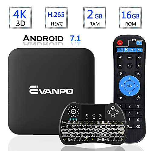 EVANPO Android 7.1 TV Box Smart TV Player Media Box Quad Core CPU 2GB 16GB Support 4K/ 3D/ 2.4GHz WiFi Set Top Boxes…