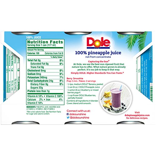 Dole 100% Pineapple Juice, 6 Ounce Can (Pack of 6), Pineapple Juice in Individual-Serving Cans, Great for Smoothies Drinks Marinades Desserts and More by Dole (Image #1)