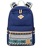 LuckyZ Women Casual Backpack Lightweight Canvas with Leather Daykpack School Bag Cute Printng Travel Laptop Bag Shoulder Bookbags, Blue Snowflake