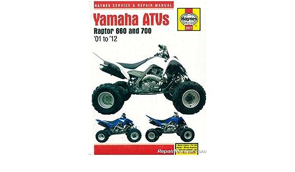 H2977 Yamaha Raptor 660 700 2001-2012 ATV Repair Manual by ... on
