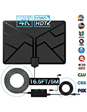 Indoor TV Aerial, GEEKERA HD TV Brite Antenna Amplified 120 KM Long Range Stronger Reception Support 4K 1080P Freeview Channels, 16.5Ft Coaxial Cable