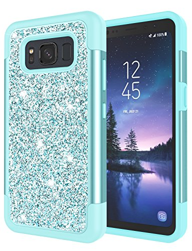 Galaxy S8 Active Case, S8 Active Case for Grils, Jeylly Glitter Luxury Crystal Dual Layer Shockproof Hard PC Soft TPU Inner Protector Case Cover for Samsung Galaxy S8 Active AT&T - Turquoise