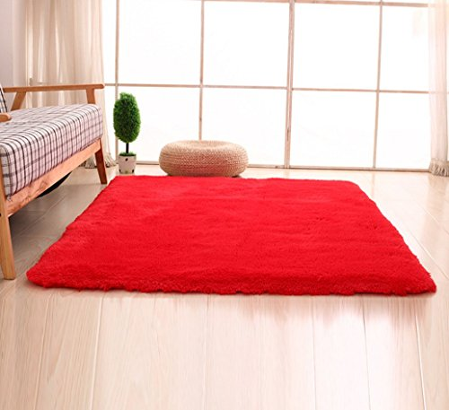 Bnxbb Ultra Soft 4Cm Thick Indoor Fluffy Thick Indoor Area Rug for Home Decor Living Room Bedroom Kitchen Dormitory Rectangle,Size:24 x 47 Inch (60Cm X 120Cm) Chinese Red