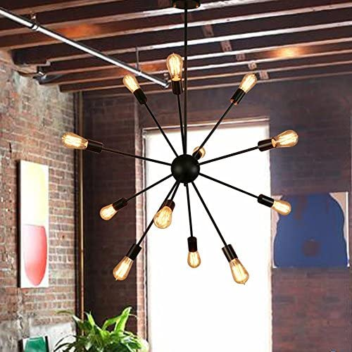 Sputnik Chandeliers 12 Lights Black Pendant Lighting Ceiling Mount Light Fixture, UL Listed