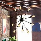 Sputnik Chandelier - Housen Solutions 12 Lights Pendant Lighting, Painted Black Pendant Chandelier Vintage Ceiling Light Fixture, UL LISTED