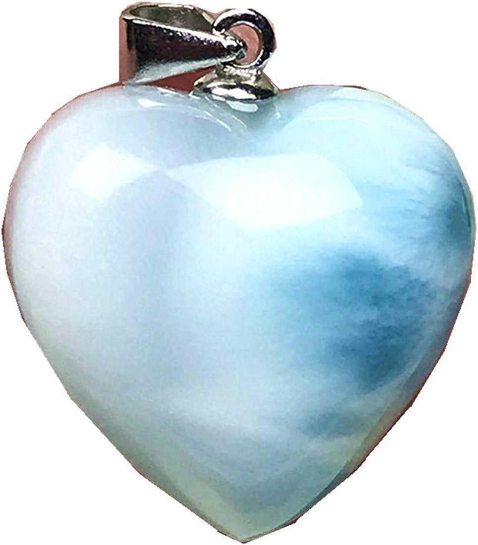 Colgante Larimar, corazón azul natural, joyería Larimar, para mujer, hombre, cristal Dominica, cuentas de 17 x 7 mm, plata con patrón de agua, piedra preciosa AAAAA