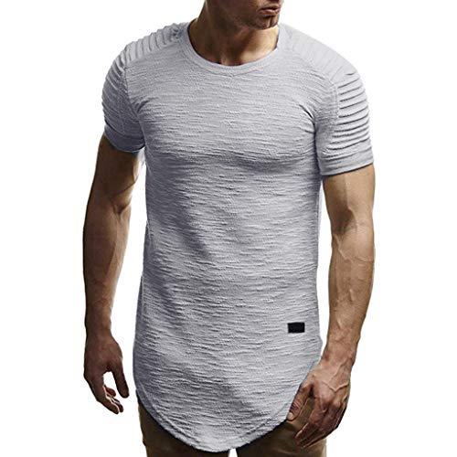 YAYUMI Fashion Men's Summer O-Collar Casual Slim Short-Sleeved T-Shirt Top Gray ()