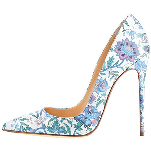 FSJ Women Fashion High Heel Stilettos Pointed Toe Pumps Evening Dress Printed Shoes Size 4-15 US Irises amazon sale online shop offer cheap online 9mosg