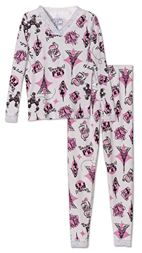 Sara's Prints Girls Paris Lace Trim 2-Piece Pajama, Kids Size (Saras Prints Girls 2 Piece)
