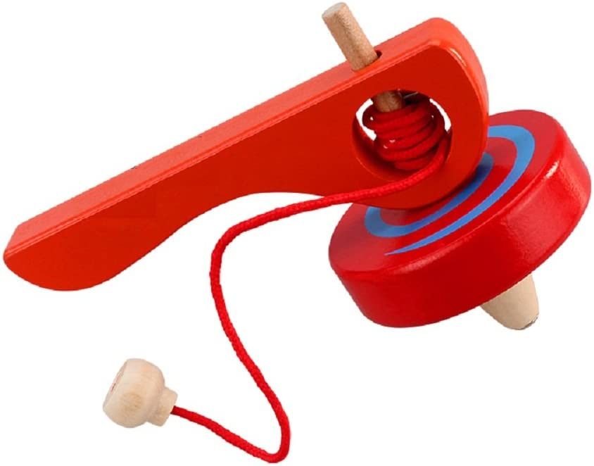 GoodPlay Wooden Spinning Top Gyroscope peg-top with Handle and Pull String Wire,can Last Long time, Color Random