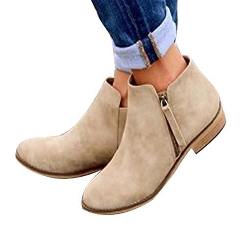 Botines para Mujer Botas Cortas Plataforma De Cremallera Tacones Altos Low Stack Heel Shoes Botines Casuales Botines Roman Cone Heel Casual: Amazon.es: ...