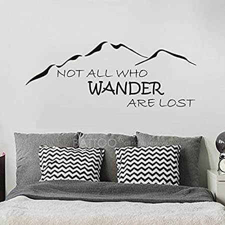 BATTOO Not All Who Wander are Lost Wall Decal Mountain Vinyl Sticker 30 W 11.5 H Family Kids Room Mural Motivation Love Home Travel Hobbit, Black