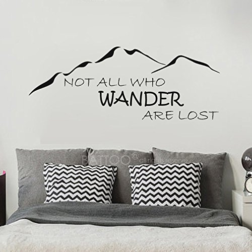(BATTOO Not All Who Wander Are Lost Wall Decal Mountain Vinyl Sticker 50