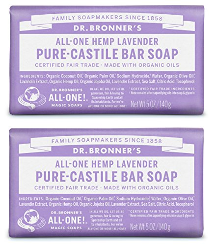 Dr. Bronner's Pure-Castile Bar Soap – Lavender, 5oz. (2 Pack) ()
