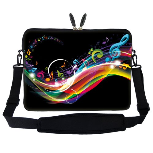 Meffort Inc 15 15.6 inch Neoprene Laptop Sleeve Bag Carrying Case with Hidden Handle and Adjustable Shoulder Strap - Rainbow Music Note (Music Book Carrying Case)