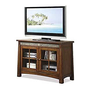 Riverside furniture craftsman home 45 inch tv stand in americana oak home audio Home theater furniture amazon