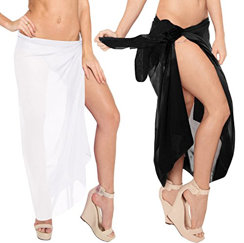 LA LEELA Sheer Chiffon Swimwear Pareo Long Suit Sarong Solid 88''X42'' Black_1621 by LA LEELA