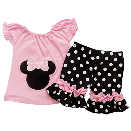 [So Sydney Girls Toddler Pink Minnie Mouse Boutique Outfit, Top & Capri Shorts (XL (6), Pink)] (Mickey Dress)