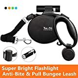 Happy & Polly 4 in 1 Dog Leash Retractable Dog Leash 16.4 ft Dog Walking Leash with Flashlight Detachable/Protective Bungee Leash/Magic Box Dispenser Poop Bags for Small Medium Dogs (Golden)