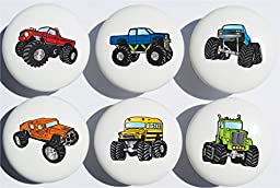 Monster Truck Ceramic Drawer Knobs / Drawer Handle Pulls, Set of 6