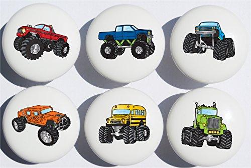 Monster Truck Ceramic Drawer Knobs / Drawer Handle Pulls, Set of (Monster Truck Light Switch Plates)