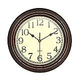 Foxtop 12 inch Silent Non-ticking Round Classic Retro Wall Clock, Home Decorative Clocks (bronze)