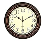 Foxtop 12 inch Silent Non-ticking Wall Clock Battery Operated Vintage Style, Round Ultra-quiet Decorative Wall Clocks for Living Room Kitchen Home Office (Brown)