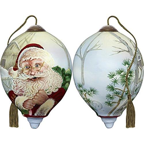 - Ne'Qwa Art Hand Painted Blown Glass Winter Santa Ornament, Multicolor