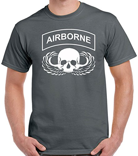Pro Art Shirts Unisex Airborne Skull T-Shirt Medium Charcoal
