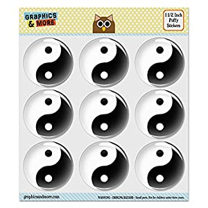 """Puffy Bubble Dome Scrapbooking Crafting Stickers - Yin and Yang Chinese Symbol Taoism - Set of 9 - 1.5"""" (38mm) Diameter Each"""