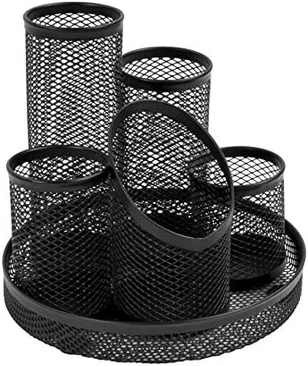 Osco Stifteköcher Mesh kratzfest mit streifenfreier Unterseite 5 Röhren schwarz