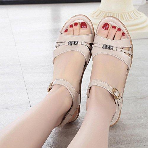 Parteischuhe L@YC Frauen Slope Mit Sommer Sandalen Leder Mit LäSsigen GroßEn GrößE Bequemen High Heels , white , 35