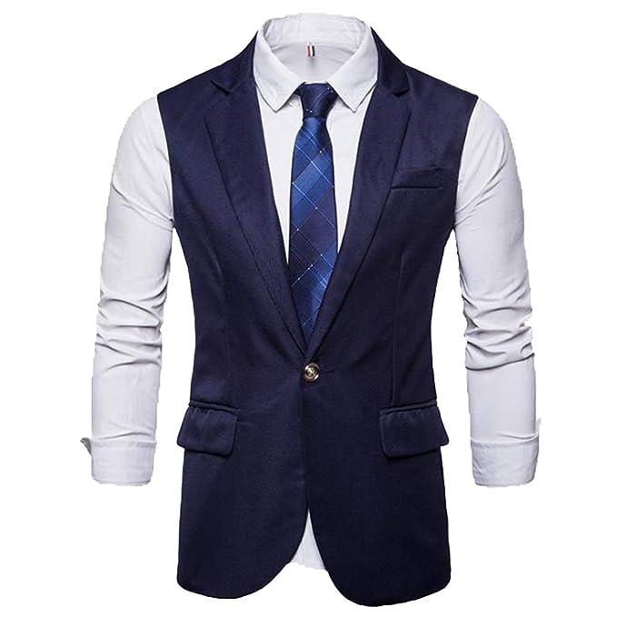 Hombres Slim Fit Cuello V Estilo británico Tweed de Solo ...